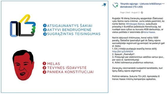 """""""Facebook"""" nuotr./TS-LKD politinės reklamos epizodas, M.Basčio apskųstas VRK"""