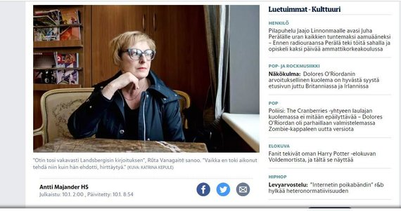 """Helsingin Sanomat"" publikavo pokalbį su R.Vanagaite"