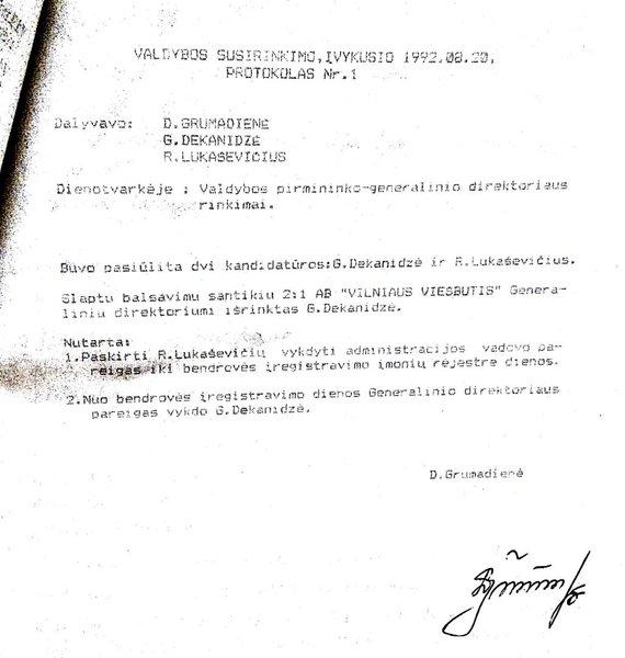 """Kornelijos Ukolovaitės / 15min nuotr./Sprendimas, kuriuo G.Dekanidzė tapo """"Vilniaus viešbučio"""" vadovu"""