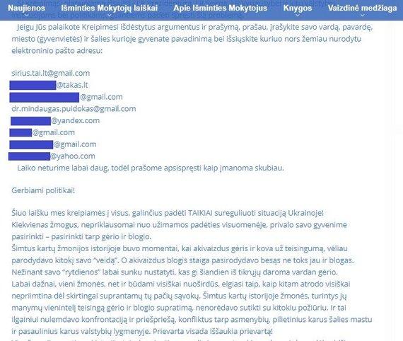 """15min nuotr./""""Sirijaus"""" puslapyje skelbiamas kreipimasis dėl Ukrainos įvykių"""