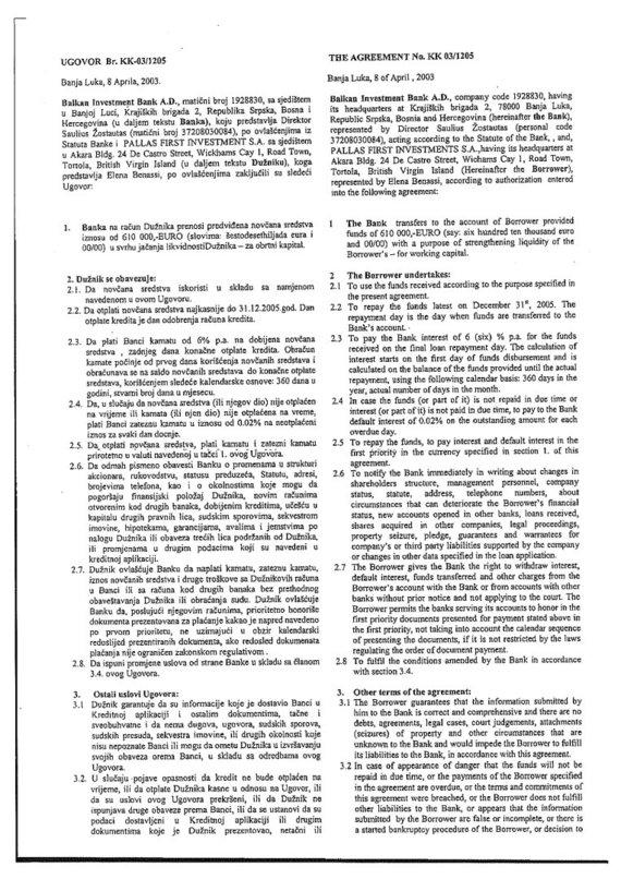 15min nuotr./2003 m. balandžio 8 d. paskolos sutartis, 1 lapas