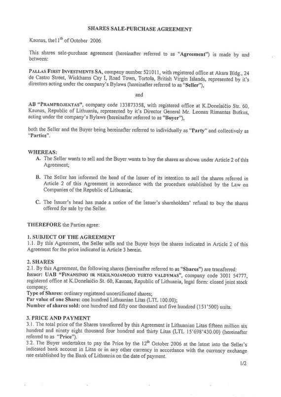 15min nuotr./Sutartis dėl Sporto rūmus valdančios įmonės pardavimo – 1 lapas