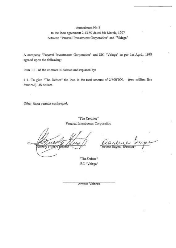 """15min nuotr./""""Panaval Investments"""" ir UAB """"Vaizga"""" paskolos sutarties pakeitimas"""