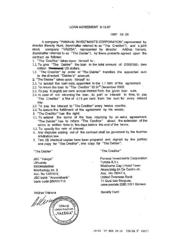 """15min nuotr./""""Panaval Investments"""" ir UAB """"Vaizga"""" 2 mln. dolerių paskolos sutartis"""