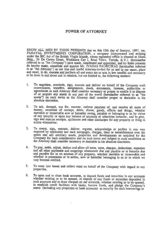 15min nuotr./Ofšorinės įmonės įgaliojimas Ivanui Paleičikui, 1 puslapis