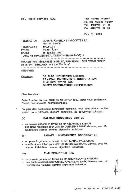 15min nuotr./Šveicarijos tarpininko prašymas įgalioti G.Kiesų, I.Paleičiką, B.Vainorą ir A.Vainorą tvarkyti ofšorines sąskaitas, 1 puslapis