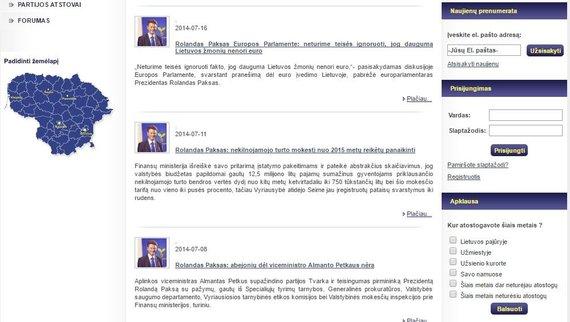 """15min nuotr./Partijos """"Tvarka ir teisingumas"""" svetainėje nėra jokios informacijos apie 2014 m. liepos 11 d. renginį su Juozu Imbrasu"""