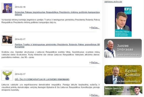 """15min nuotr./""""Tvarkiečių"""" puslapyje – jokios informacijos apie 2014 m. vasario 15-17 d. turėjusią vykti konferenciją apie euro įvedimą"""