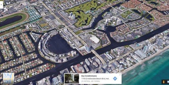 """""""Google Maps"""" nuotr./E.Butrimo apartamentus (vieta pažymėta smeigtuku) nuo Majamio pliažų skiria nedidelis atstumas"""