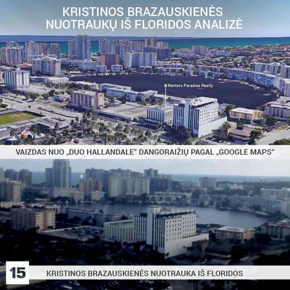 K.Brazauskienės asmeninio archyvo nuotr., publikuota alfa.lt ir Google Maps nuotr./Toks vaizdas atsiverti gali tik iš vienos vietos – dangoraižio, kuriame yra Ernesto Butrimo apartamentai