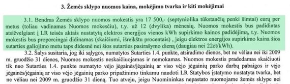 15min nuotr./Artūro Skardžiaus šeimos sutarties dėl žemės nuomos ištrauka