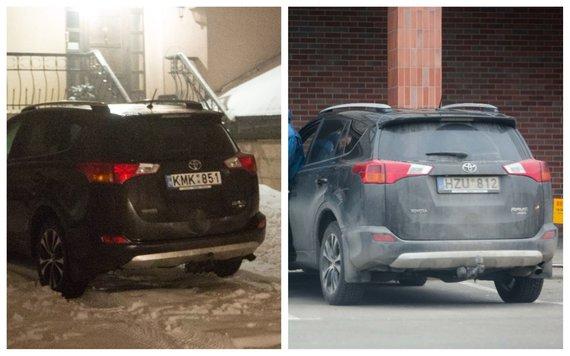 """Vidmanto Balkūno, Irmanto Gelūno / 15min nuotr./""""Toyota RAV4"""" suklastotais numeriais, stovinti prie A.Adomaičio namų (kairėje) ir Žuvininkystės tarnybos """"Toyota RAV4"""""""