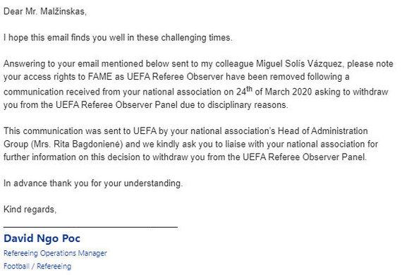 UEFA laiškas P.Malžinskui