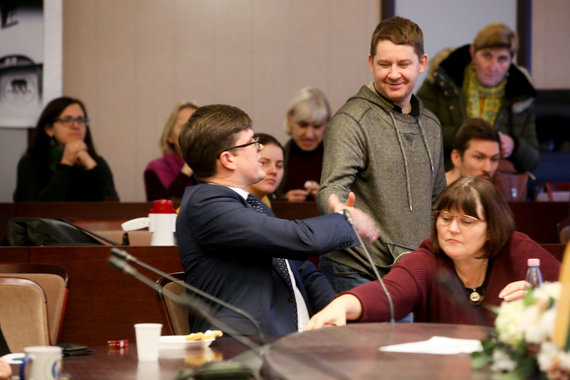 Vidmanto Balkūno / 15min nuotr./Tomas Daukantas aplankė protestuojančius mokytojus