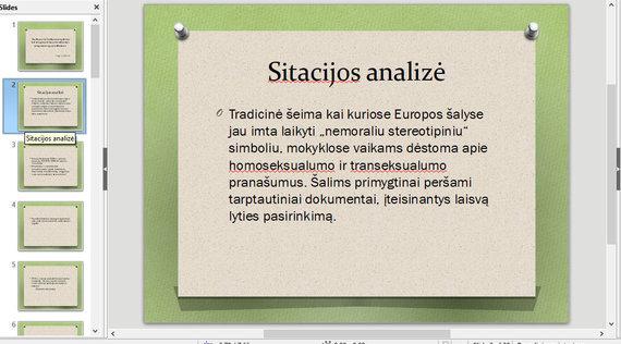 Lietuvos žmogaus teisių centro nuotr./Mokymų medžiaga – tradicinė šeima Vakaruose