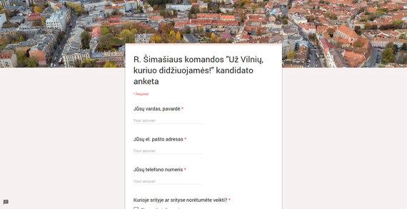 R. Šimašiaus komandos kandidato anketa