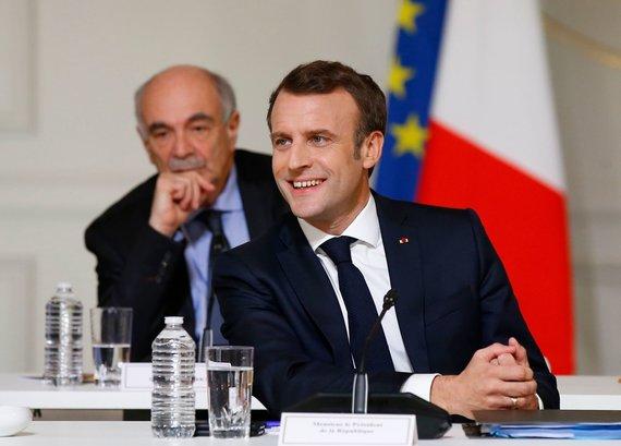 """AFP/""""Scanpix"""" nuotr./Emmanuelis Macronas nacionaliniuose debatuose"""