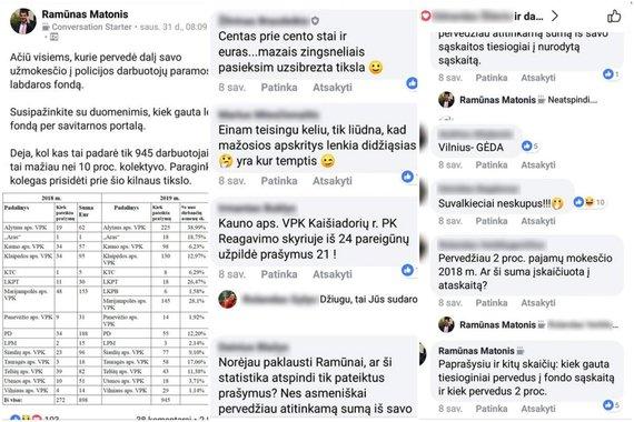 """Facebook"" nuotr./Ramūno Matonio įrašas ""Facebook"""