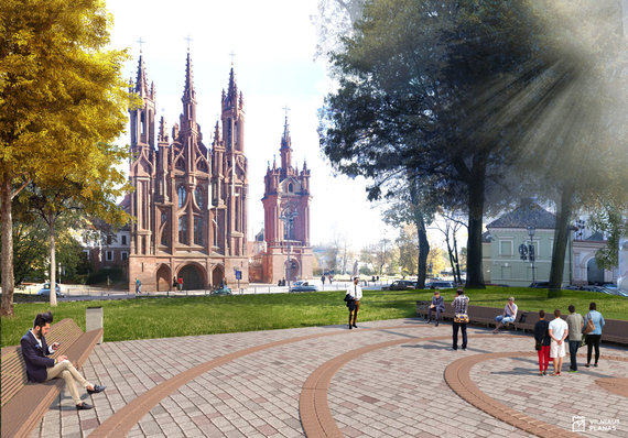 Projekto vizualizacija/Skvero Maironio gatvėje rekonstrukcijos vizualizacijos. Antrasis variantas