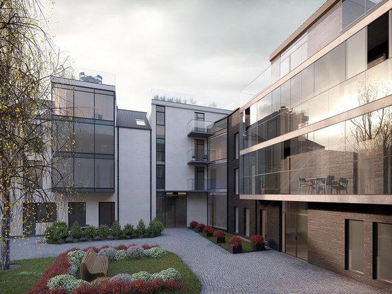 Projekto vizualizacija/Kauno senamiesčio apartamentų kiemas