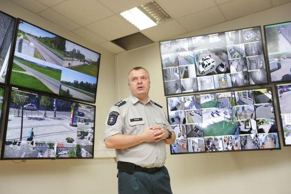 Vidmanto Balkūno / 15min nuotr./Saulius Gagas per naujų stebėjimo kamerų Vilniaus mieste pristatymą