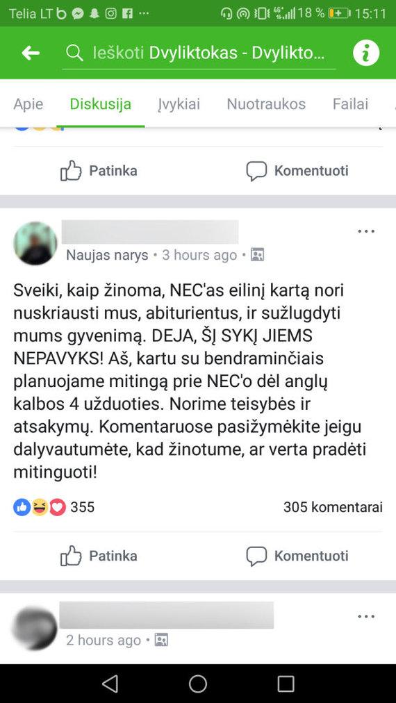 """""""Facebook"""" nuotr./""""Facebook"""" įrašas"""