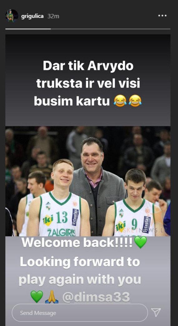 """""""Instagram"""" nuotr./Mariaus Grigonio sveikinimas Tomui Dimšai"""