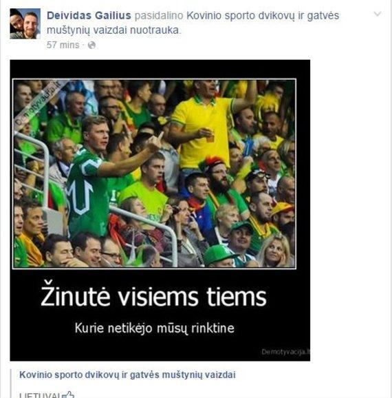"""""""Facebook"""" nuotr./Deivido Gailiaus žinutė socialiniame tinkle"""