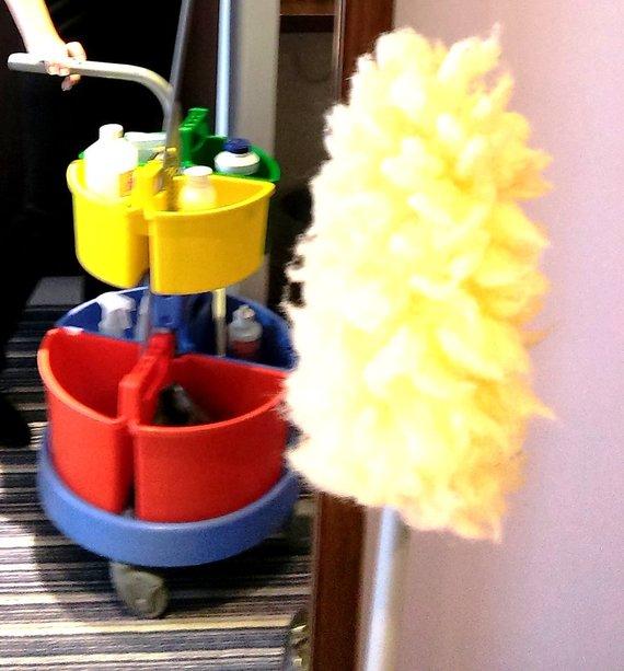 Į tokį spalvotą vežimaitį kambarinės turi susidėti valymo priemones ir, gink Dieve, nesumaišyti jų vietų.