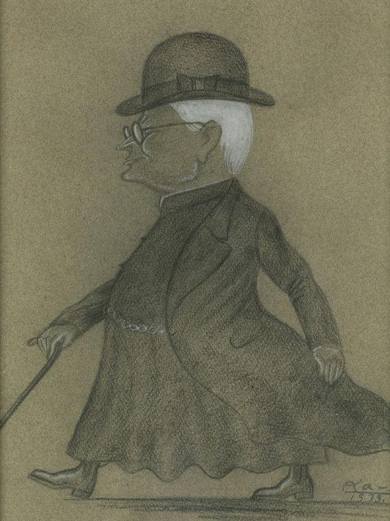 Maironio lietuvių literatūros muziejaus nuotr./Dailininko L.Kagano draugiškas Juozo-Tumo Vaižganto šaržas, nupieštas 1932 m.