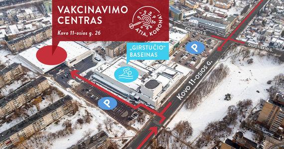 Kauno miesto savivaldybės nuotr./Atvykimo į vakcinavimo centrą schema