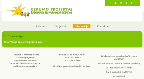 """""""Gerumo projektai"""" tinklapyje nėra nieko konkretaus apie labdaros fondo veiklą"""