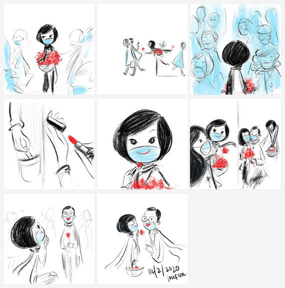 Josefo Lee iliustracija/Josefo Lee iliustracija apie koronavirusą 2020-02-14