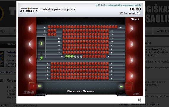 """Ekrano kadras/Filmo """"Tobulas pasimatymas"""" užimtumas kino teatre """"Forum Cinemas"""""""