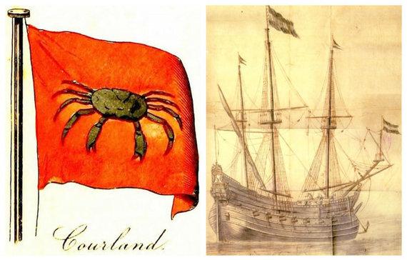 Praeitiespaslaptys.lt nuotr. /Kairėje - Kuršo laivyno vėliava. Dešinėje - laivas su Kuršo hercogystės vėliava