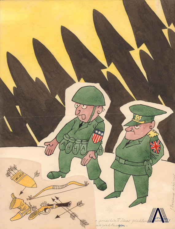 """karikatūra iš www.archivesofculture.com/Jono Dociaus 1964 m. sukurta karikatūra """"Sunaikinę šiuos ginklus, atrodo, išspręsime nusiginklavimo problemą"""""""