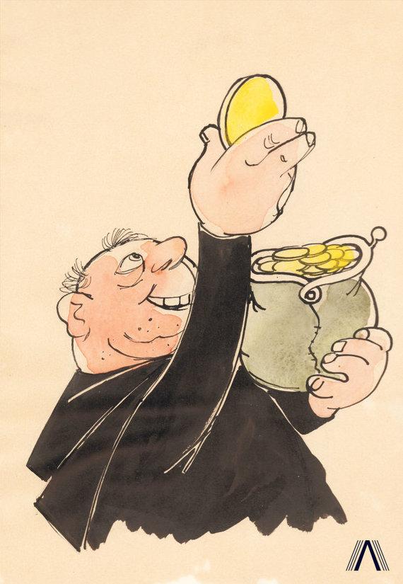 """karikatūra iš www.archivesofculture.com/Juozo Kasčiūno 1963 m. sukurta antireliginė karikatūra """"Tikiu į dievą tėvą"""""""