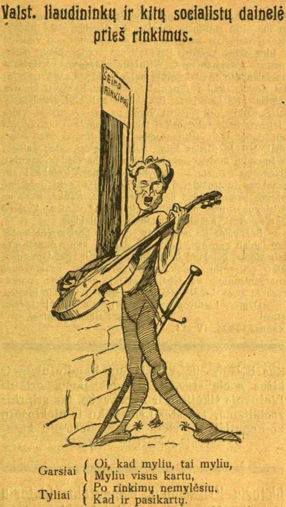 """epaveldas.lt nuotr. /Kazį Grinių vaizduojanti karikatūra """"Tėvynės sarge"""" 1926 m."""