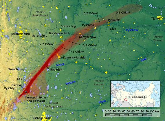 Jan Rieke, maps-for-free.com nuotr./Rytų Uralo radioaktyvioji juosta – teritorija, užkrėsta po Kyštymo katastrofos