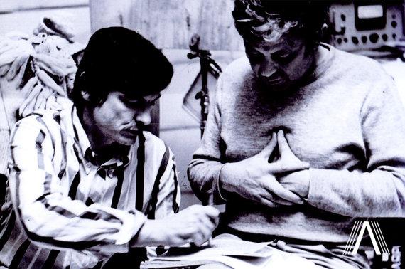 """archivesofculture.com nuotr./Režisierius Andrejus Tarkovskis ir aktorius Donatas Banionis. """"Soliaris"""". 1971 m."""
