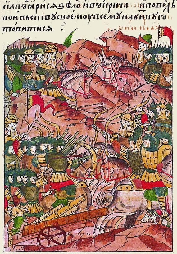 Wikimedia Commons pav./Vorsklos mūšio miniatūra iš XVI a.