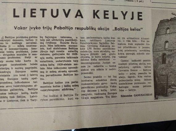 """Ugniaus Antanavičiaus nuotr./Straipsnis 1989 m. rugpjūčio 24 d. """"Komjaunimo tiesoje"""""""