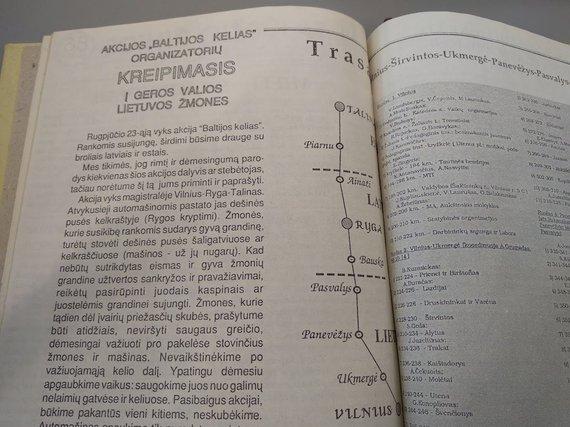 """Ugniaus Antanavičiaus nuotr./Baltijos kelio trasa """"Sąjūdžio žiniose"""""""