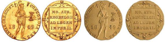 Praeitiespaslaptys.lt nuotr. /Kairėje olandiškas dukatas, o dešinėje rusiškas. Monetos skyrėsi tik mikrodetalėmis.