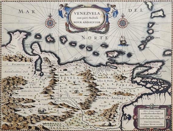 antiquesartsandmore.com iliustr./Venesuelos žemėlapis 1647-1649 m.