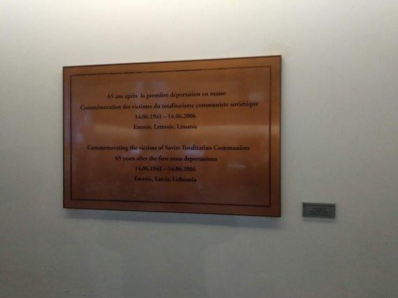 Ugniaus Antanavičiaus nuotr./Atminimo lentelė sovietinio totalitarinio komunizmo aukoms Europos Parlamente