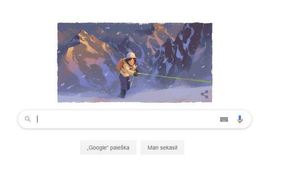 """Google.com kadras/""""Google"""" pradinio puslapio paveiksliukas, vaizduojantis Wandą Rutkiewicz"""