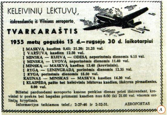 """Nuotr. iš Dariaus Pocevičiaus knygos """"Istoriniai Vilniaus reliktai 1944-1990""""/Skelbimas 1955 m. laikraštyje apie Vilniaus oro uosto veiklą"""