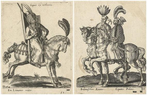 Amsterdamo valstybinio muziejaus nuotr./Ankstyvieji Lietuvos ir Lenkijos husarai 1577 m. leidinyje