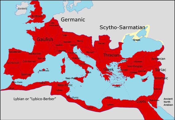 Wikipedia vartotojo Javier1212 pav., CC BY-SA 4.0/Regioninės Romos imperijos kalbos, vartotos maždaug 150 m. po. Kr.